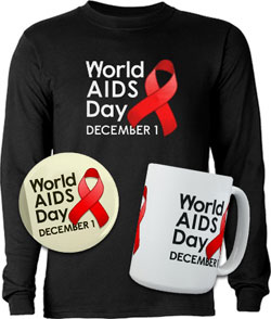 World AIDS Day shirt, button, and mug